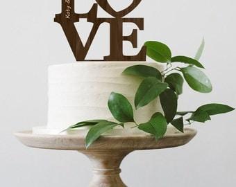 LOVE Wedding Cake Topper Rustic Custom Cake Topper  Personalized  Wood Cake Topper Silver Cake Topper