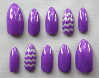 Almond Purple with Gray Chevron Nails | Press On Nails | Fake Nails | False Nails | Glue On Nails | Acrylic Nails | Nail Art | Handpainted