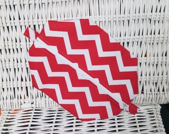 Red chevron zippered pouch