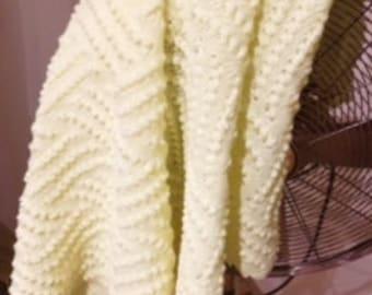 Beautiful Machine Knitted Baby Blanket - Lemon Yellow