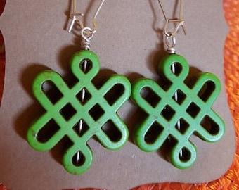 HandCrafted Earrings - Entangled Green