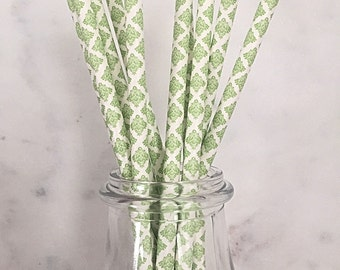 Lime Green Damask Paper Straws (25)
