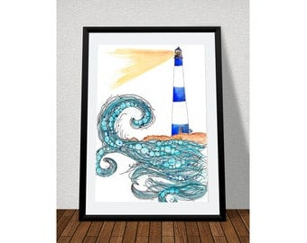A3 Lighthouse poster print