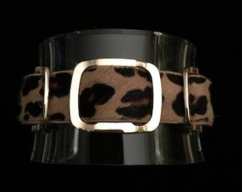 Acrylic Cuff with Leopard Print