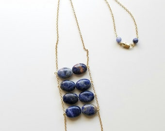 sodalite ladder necklace