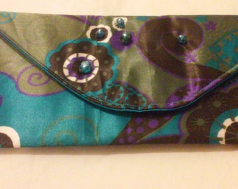 Beaded Technicolor Clutch with Blue Wristlet