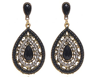 Bohemian Black Drop Earrings EA6007i