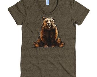 Brown Bear T Shirt - Bear Tee Shirt - Grizzly Bear Tee - Women's American Apparel T Shirt - Item 1047