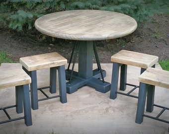 Kids Industrial Rustic Round Activity Table with 4 Stools