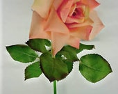 "THREE 28"" Rose-Peach Garden Roses with 4"" Bloom and 13 leaves Designer Quality From Windward Silks"
