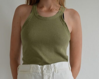 Vintage 40s WW2 Undershirt Olive Army Military Green Tank Top |  1940 Under shirt | World War 2 II clothing | Antique Men shirt