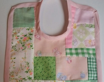 Vintage fabric pieced pinks and greens baby bib