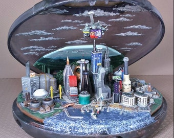 CD City. A scale model of a Sci-Fi city inside an old CD player.
