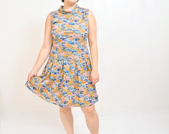 vintage late 60s Japanese Art insp Cherry Blossom drop waist mod dress Mad Men 1960s pleated short skirt m/l