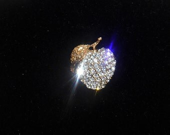 Vintage Pave Rhinestone Apple Brooch, Very Sparkly, Unsigned