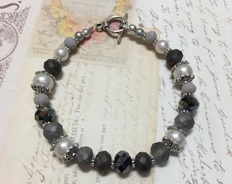 Beaded Bracelet w/ Glass Pearls, Crystals & Tibetan Silver Findings