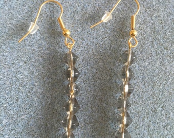 long drop  smokey glass earrings