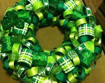 Ribbon Wreath - 13 inch / St. Patricks Day / holiday decor / party decor / shower decoration