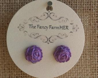 Lavender rose button earrings