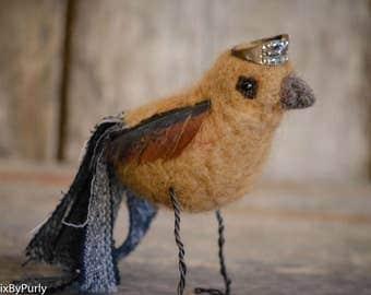 Bird - Needle Felted Bird - PurlyBird 3 - Bird Decor - Bird Art