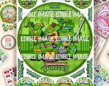 Edible image Personalized Teenage Mutant Ninja Turtles Cake topper or cupcakes   Birthday picture sugar decorations party tmnt