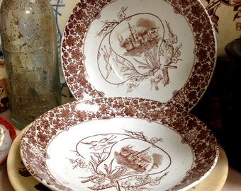 "Two Aesthetic Copeland ""Cairo"" Saucers, Brown Transferware"