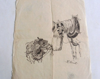 antique original ink drawing eating horses mother and child
