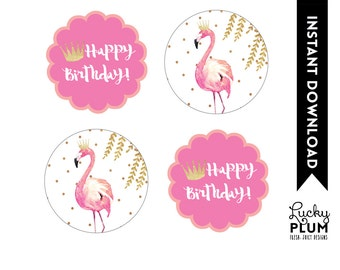 Flamingo Cupcake Toppers / Flamingo Round Labels / Flamingo Tags / Pink Gold Cupcake Toppers / Watercolor Willow / DIY Printable FG02