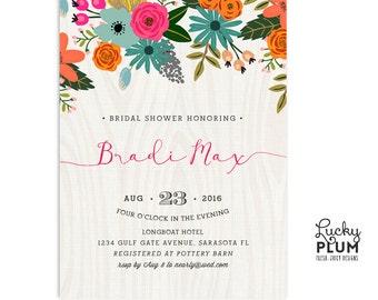 Flower Bridal Shower Invitation / Floral Bridal Shower Invitation / Rustic Bridal Shower Invitation / Bridal Shower Brunch Invitation
