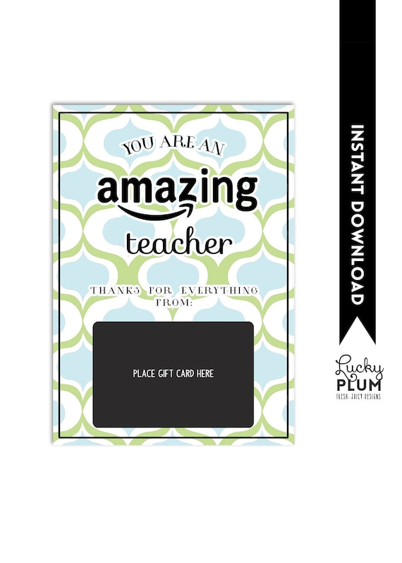 amazon gift card holder teacher thank you card christmas. Black Bedroom Furniture Sets. Home Design Ideas