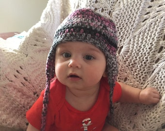 Girls  Earflap hat, Pink Grey black crochet Hat, Newborn to 3 years , Baby Girl Old Fashioned Hat,  Any size baby hat, Baby Gift