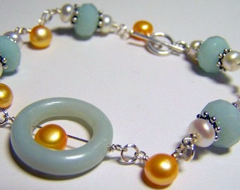Amazonite Bracelet, Sterling Silver Gemstone Bracelet, Gold Freshwater Pearl, Gifts For Her, Gemstone Jewelry, Birthstone Jewelry