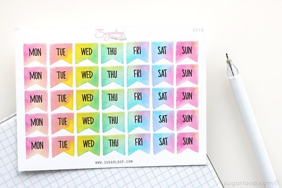35, days of the week, watercolor, bright, bullet journal stickers, planner stickers, weekly, travelers notebook DAY8