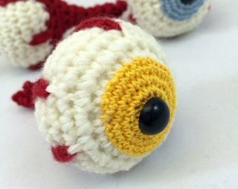 Eyeball Keychain, Eye Keychain, Halloween Eyeball, Holiday Ornament, Ornament or Keychain, Yellow Eye
