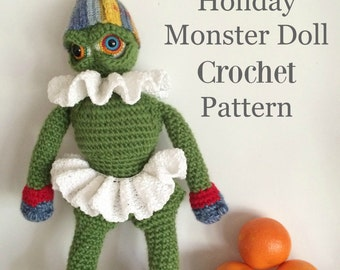 Doll Crochet Pattern, Crochet Amigurumi Pattern, Toy Pattern, Holiday Monster