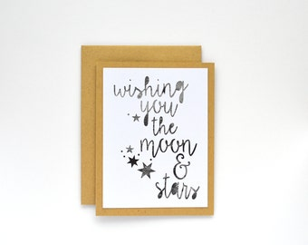 Happy Birthday Card for Best Friend, Birthday Card, Congratulations Card for Wedding,  Moon, Outer Space, Celestial, Modern, Limited Edition