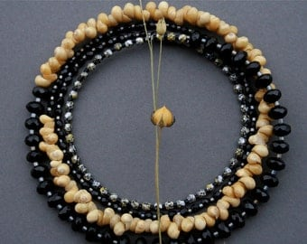 long beaded necklace with sea shells - bohemian jewelry - black and yellow