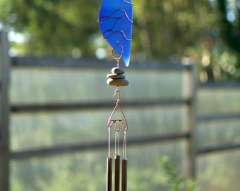 Wind Chime Cobalt Blue Glass Sea Glass Beach Glass Copper Windchime