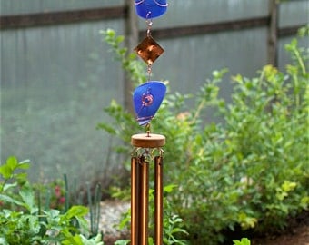 Wind Chimes Cobalt Blue Glass Copper sea glass beach glass stained glass suncatcher windchime