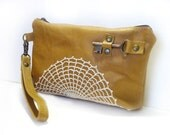 Tan Leather Zipper Pouch Wristlet with Vintage Lace and Antique Key - Honeysuckle Boho Clutch