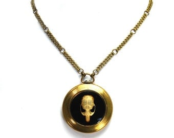 OSSUARY RELIC Gothic Skull Necklace Genuine Mouse Skull Ornate Chain Antique Rolled Gold Pocket Watch Case One of a Kind from Nouveau Motley