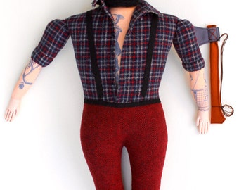 Burly Lumberjack tattooed man doll plush