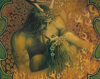 Beltane Reunion 12x18 Poster Print Pagan Bohemian Mythology God & Goddess Art