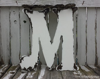 Large Wood Letter | Wooden Wedding Letters | Wooden Guest Book Alternative | Wooden Letter M | Letters Made of Wood | Wedding Decor |Nursery