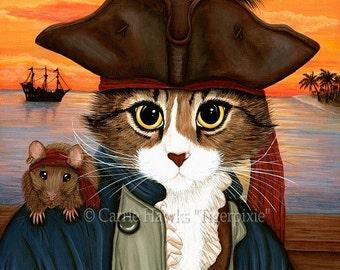 Cat Pirate Art Rat Sunset Captain Leo Fantasy Cat Art Print 12x16 Art For Cat Lovers Gift
