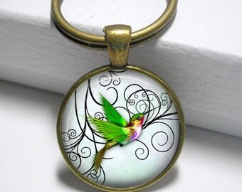 Green Hummingbird Pendant, Necklace or Key Chain - Choice of 4 Bezel Colors