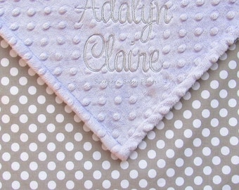 Baby Gift, Personalized Baby Blanket, Gray Polka Dots Gender Neutral Blanket , Monogrammed Minky and Cotton , Stroller Blanket Size 30x40