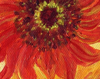 Sunflowers acrylic painting canvas art Original, easel, Small Yellow, Red sunflowers painting, sunflowers floral decor