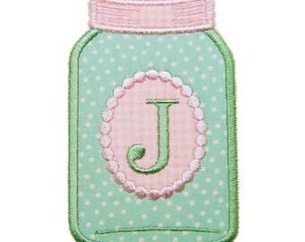 Mason Jar Applique, Monogram Frame Applique, Mason Jar Embroidery Design, Instant Download