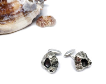 Fine silver barnacle cufflinks for sailors